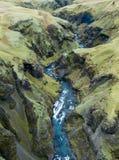Fjadrargljufur-Schlucht-Island-` s epische Schlucht Süd-Island stockfotografie