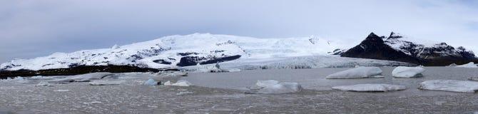 Fjallsarlon panorama picture. Fjallsarlon glacier lake panorama picture Iceland stock photo