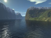 Into the Fjord - 1. Digital render of the entrance to a Scandinavian fjord stock illustration