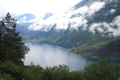 The fjord. View of Geirangerfjord in Norway, Scandinavia Royalty Free Stock Photos