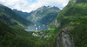 Fjord. Summer fjord view. Geiranger fjord, Norway Royalty Free Stock Photo
