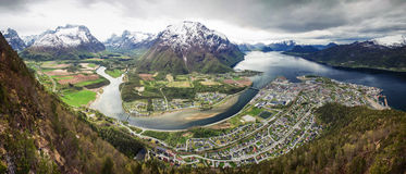 Fjord Andalsnes, panoramic Royalty Free Stock Photo