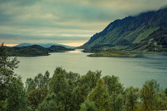 Fjord in cloudy weather Stock Photos