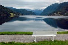 Fjord coastal promenade in Ulvik, Hordaland county, Norway.  royalty free stock images
