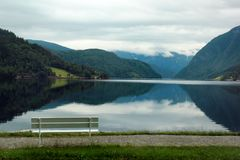 Fjord coastal promenade in Ulvik, Hordaland county, Norway.  royalty free stock photography