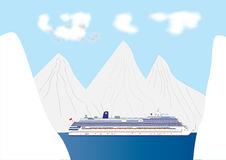 Fjord Cruise LIner. A Blue and White Cruise Liner in a Fjord surrounded by a Snow Landscape Stock Image