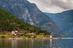 Fjord Cruise - Shore Lighthouse, Norway Royalty Free Stock Photography