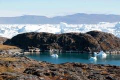Fjord de glace d'Ilulissat près d'Ilulissat en été Photos libres de droits