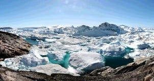 Fjord de glace d'Ilulissat près d'Ilulissat en été Photographie stock