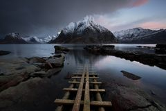 Fjord de Lofoten, Norvège photographie stock libre de droits