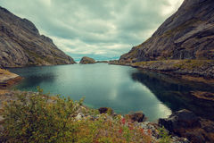 Fjord in evening in rainy day Royalty Free Stock Photos
