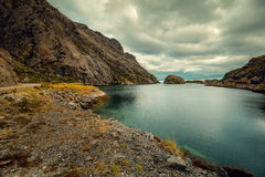 Fjord in evening in rainy day Royalty Free Stock Photo