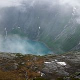 Fjord in a fog Royalty Free Stock Images