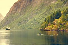 Fjord in het kayaking van Noorwegen en van mensen Royalty-vrije Stock Foto's