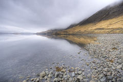 Fjord in iceland. Stormy wather, wide angle Royalty Free Stock Image