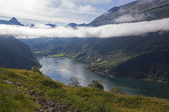 Fjord landscape from the clouds level Royalty Free Stock Photos