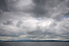 Fjord landscape of dramatic sky and sea. Trondheim, Norway Stock Photos