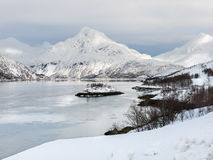 Fjord landscape in winter, Norway Stock Image