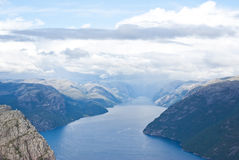 Fjord landskape inNorway. View from preikestolen and fjord in Norway Royalty Free Stock Images