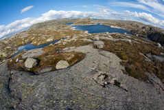 Fjord landskape in Norway. In the fish eye view Stock Photos