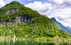 Fjord lodowa siklawy skandynawa krajobrazu seascape Obrazy Royalty Free