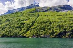 Fjord lodowa siklawy skandynawa krajobrazu seascape Fotografia Royalty Free