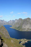 Fjord of Lofoten Islands seen  from Reinebringen Royalty Free Stock Image
