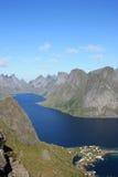Fjord of Lofoten Islands seen  from Reinebringen Royalty Free Stock Image