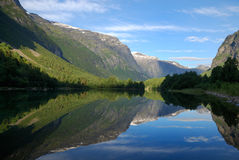 Fjord in the middle of green mountains Royalty Free Stock Images