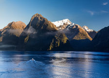 Fjord of Milford Sound in New Zealand Royalty Free Stock Image