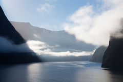 Fjord of Milford Sound in New Zealand Stock Photo