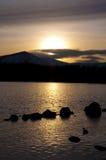 Fjord Morlich på solnedgången Arkivbild