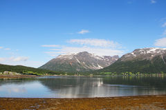 Fjord and mountains Stock Image