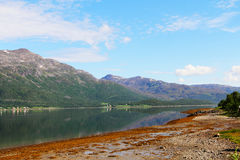 Fjord and mountains Royalty Free Stock Photo