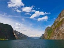Fjord Naeroyfjord in Norway - famous UNESCO Site royalty free stock photos