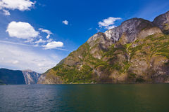 Fjord Naeroyfjord in Norway - famous UNESCO Site Royalty Free Stock Photos