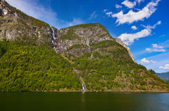 Fjord Naeroyfjord in Norway - famous UNESCO Site Stock Photo