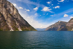 Fjord Naeroyfjord in Norway - famous UNESCO Site Royalty Free Stock Photography