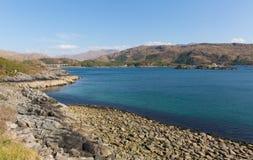 Fjord Nan Uamh västra Skottland nära Arisaig Arkivbilder
