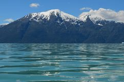 Fjord neaby the delta of Baker River, a glacial river in Southern Chile's Patagonia. The Baker River is a river located in the Aysen Region of the Chilean stock photo