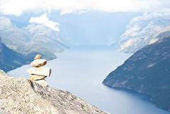 Fjord in Norway. View on fjord and pulpit rock in Norway Stock Images