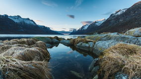 A fjord in Norway. A Fjord at the coast of Norway in a timelapse movie