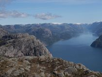 Fjord in Norway. Panoramic view of the fjord in Norway Stock Photos