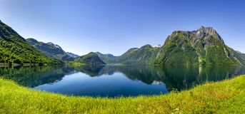 Fjord in Norway at a rainy day stock images