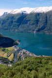 Fjord in Norway, Stegastein. Fjord in Norway. View from the Stegastein Viewpoint Stock Photo