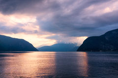 Fjord in Norway. During sunset Stock Images