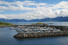 Fjord with the pier fenced about. stock image