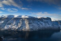 Fjord przy Flama, Norwegia zdjęcia stock