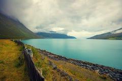 Fjord in rainy weather Stock Photo