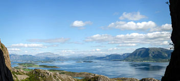 Fjord scenery panorama Royalty Free Stock Photo